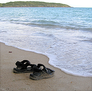 Sandals left on Seven Seas beach in Puerto Rico